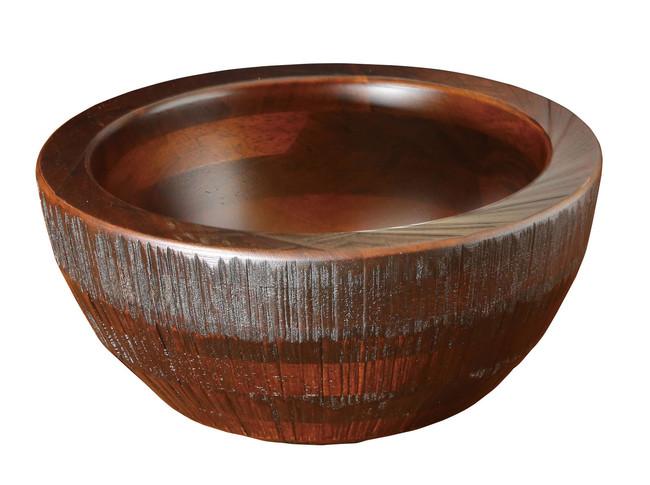 荒彫・惣菜くり鉢(深型) ブラウン 小 (W45466) (店舗什器・店舗備品/くりぬきバット・惣菜くり鉢)