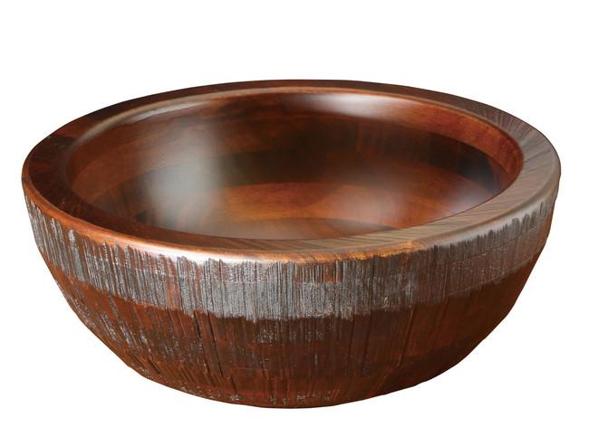 荒彫・惣菜くり鉢(深型) ブラウン 中 (W45467) (店舗什器・店舗備品/くりぬきバット・惣菜くり鉢)