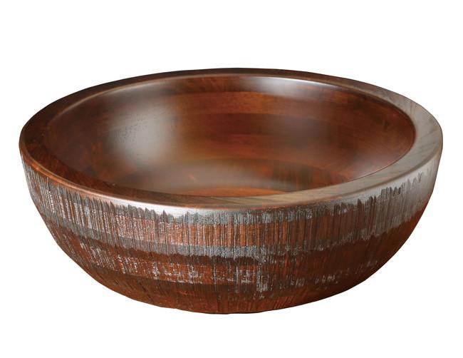 荒彫・惣菜くり鉢(深型) ブラウン 大 (W45468) (店舗什器・店舗備品/くりぬきバット・惣菜くり鉢)
