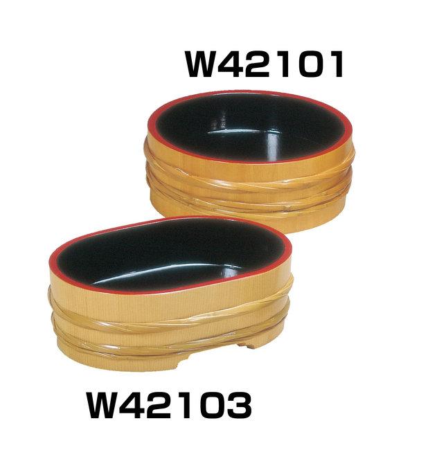 サワラ・竹 飾桶 (内黒天朱) [W42101](店舗什器・店舗備品/飾り桶・飾り樽)