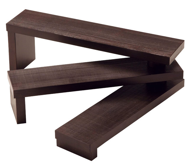 ウッディー 階段型ディスプレイ台 古代色 [W55318](店舗什器・店舗備品/卓上演出販売台)