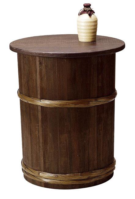 【送料無料♪】樽型ディスプレイテーブル(天板木製) (W43225) (店舗什器・店舗備品/屋台風販売台・ディスプレイ什器)