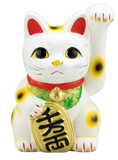 招き猫 白 10号 [W56663](店舗什器・店舗備品/縁起物)