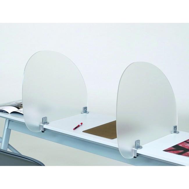 カウンター仕切板 ラウンド (片側クランプ式) (店舗用品/レジ回り用品/カウンター備品)