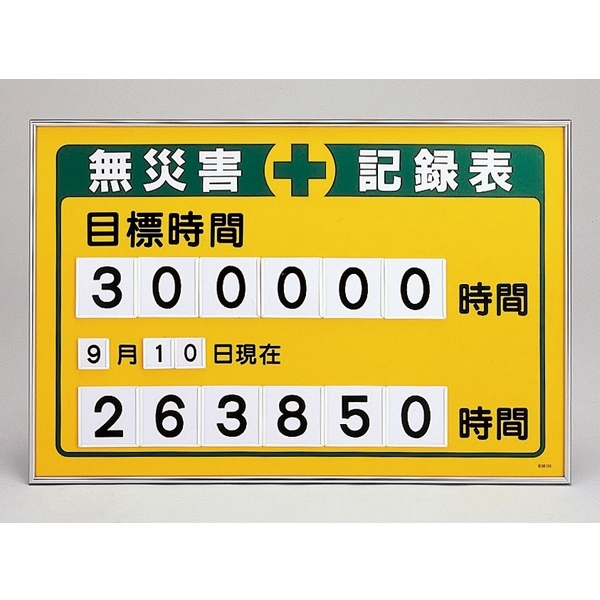 【送料無料♪】無災害記録板 数字差込み式記録板 615×915mm 仕様:目標時間 (建設現場・工事現場用品)