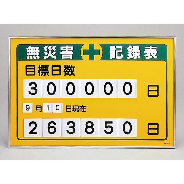 【送料無料♪】無災害記録板 数字差込み式記録板 615×915mm 仕様:目標日数 (建設現場・工事現場用品)