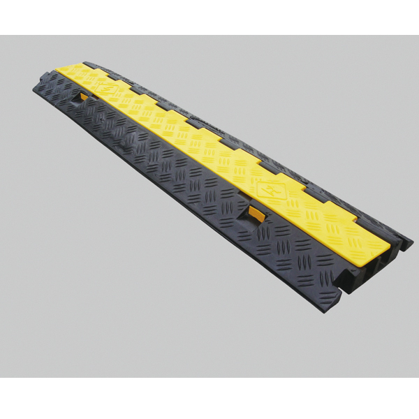 ケーブルガード(ケーブル保護プロテクター) ケーブル溝2列タイプ 仕様:本体 (286203)(建設現場・工事現場用品/配線保護用プロテクター)