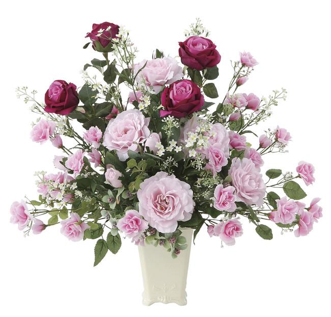 【送料無料】グランドローズ (壁掛タイプ) (造花) 高さ57cm 光触媒 (665A150)(店舗用品/光触媒 人工観葉植物・造花・フェイクグリーン/フロア(棚)向け)