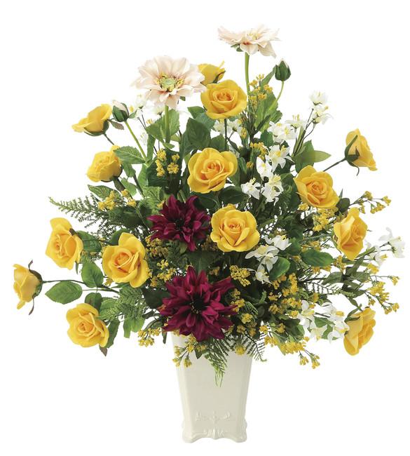 【送料無料】パレットローズ (壁掛タイプ) (造花) 高さ56cm 光触媒 (668A120)(店舗用品/光触媒 人工観葉植物・造花・フェイクグリーン/フロア(棚)向け)