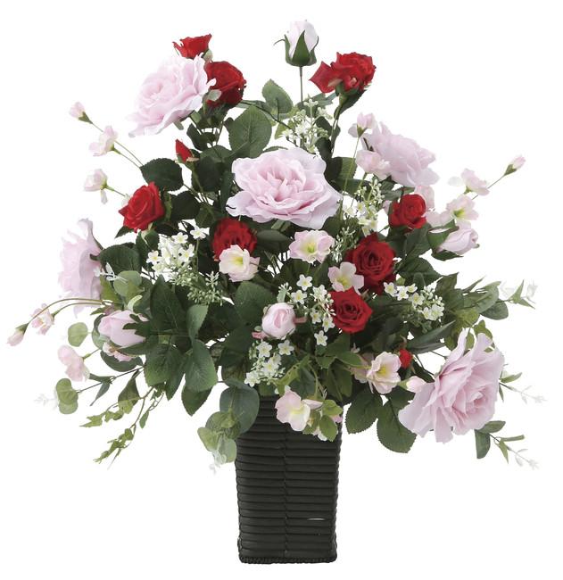 【送料無料】スエーデンローズ (壁掛タイプ) (造花) 高さ55cm 光触媒 (669A100)(店舗用品/光触媒 人工観葉植物・造花・フェイクグリーン/フロア(棚)向け)