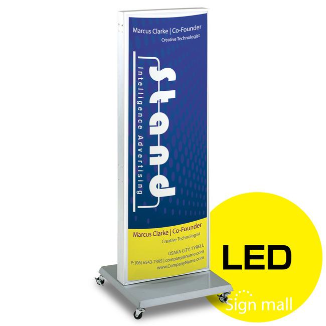 【送料無料♪】ADO-700系LED式電飾スタンド看板 ADO-700-2-LED カラー:シルバー (電飾看板/LEDタイプ/印刷シート貼込タイプ)
