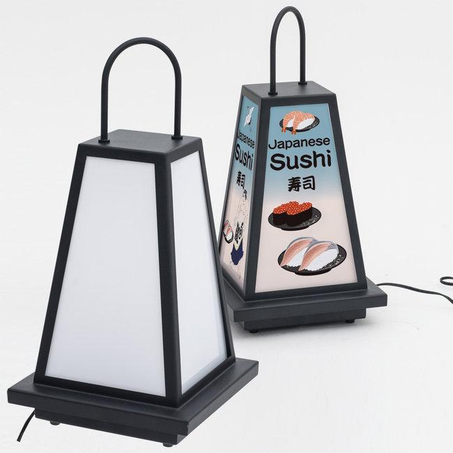LEDランプ式京行灯 (屋外用小型行灯看板)(スタンド看板/電飾看板/和風タイプ)