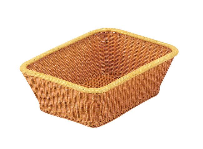 籐・脱衣篭 長角 (ナチュラルブラウン) [W50790](浴場用品/脱衣篭・スツールチェア)
