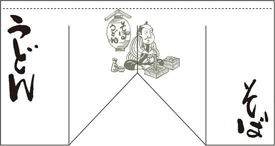 そば うどん (斜めタイプ) 変型のれん (販促POP/変形のれん (インパクト重視))