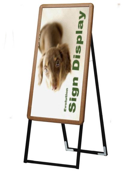 【送料無料♪】ポスターグリップスタンド看板 屋内用 B1半分 片面 木目 (A型看板/屋内・室内専用)