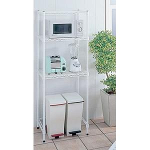 【送料無料♪】キッチンラック 600×450 H1600 ホワイト(店舗用品/陳列什器/ホームエレクター(ワイヤーラック)/シェルフ)