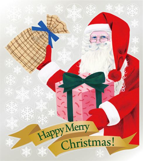 巨大ウィンドウシール800mm×900mm 両面印刷 クリスマス サンタ・プレゼント (販促POP/店内ポップ/POPカード・POPシール/ウィンドウPOPシール)