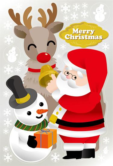 【送料無料♪】巨大ウィンドウシール1100mm×1600mm 両面印刷 クリスマス サンタ・トナカイ (販促POP/店内ポップ/POPカード・POPシール/ウィンドウPOPシール)