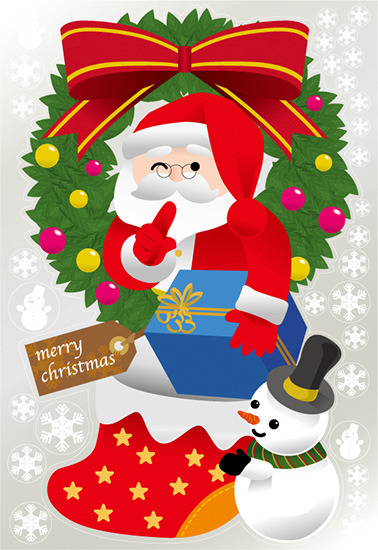 【送料無料♪】巨大ウィンドウシール1100mm×1600mm 両面印刷 クリスマス サンタ・リース (販促POP/店内ポップ/POPカード・POPシール/ウィンドウPOPシール)