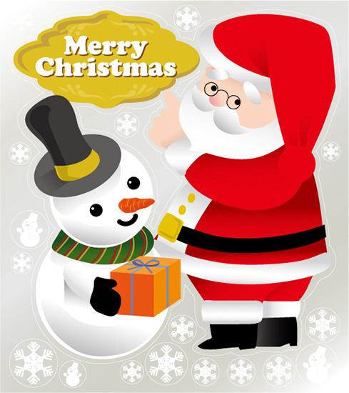 巨大ウィンドウシール800mm×900mm 両面印刷 クリスマス サンタ・スノーマン (販促POP/店内ポップ/POPカード・POPシール/ウィンドウPOPシール)