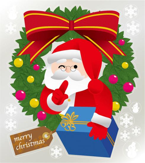 巨大ウィンドウシール800mm×900mm 両面印刷 クリスマス サンタ・リース (販促POP/店内ポップ/POPカード・POPシール/ウィンドウPOPシール)