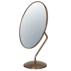 【送料無料♪】ダエン型卓上鏡(鏡厚3mm) ゴールド(店舗用品/陳列什器/ミラー・姿見鏡スタンド)