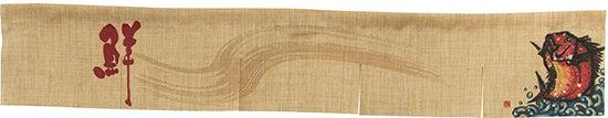 エステル麻のれん 魚 赤 5巾ショート (販促POP/エステルのれん (麻風・屋内用)/カウンター(W1750×H300mm))