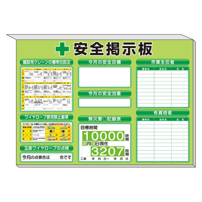 【送料無料♪】スーパーフラットミニ掲示板 クレーンの基準合図法他入 カラー:緑地 (安全用品・標識/安全標識/管理表示板)