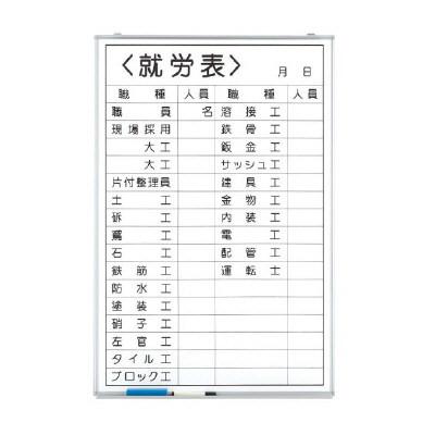 【送料無料♪】ホワイトボード就労表 (職種記入) (安全用品・標識/安全標識/管理表示板)