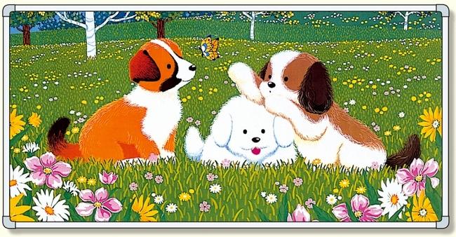 【送料無料♪】イラストパネル 三匹の犬 870×1740mm (安全用品・標識/安全標識/環境美化標識)