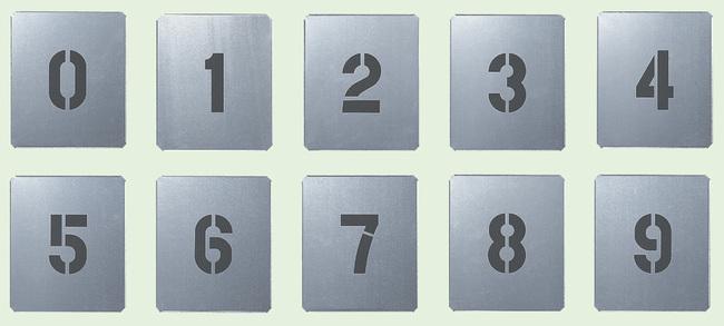 【送料無料♪】吹付け用プレート 数字 0-9 小 10枚1組 (安全用品・標識/路面標識・道路標識/路面表示用品)
