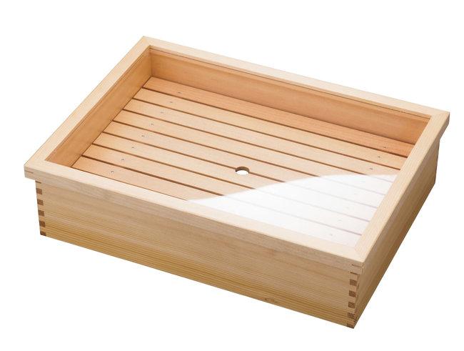 ネタ箱・かぶせ蓋/目皿 ステンレスバット付 大 [W10344](調理道具/まな板・抜き板・ネタケース)