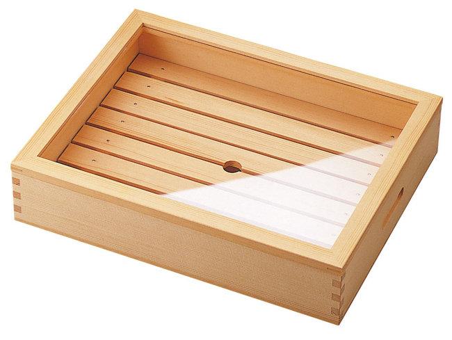 ネタ箱 (小) 目皿・アクリル蓋付 [W35583](調理道具/まな板・抜き板・ネタケース)