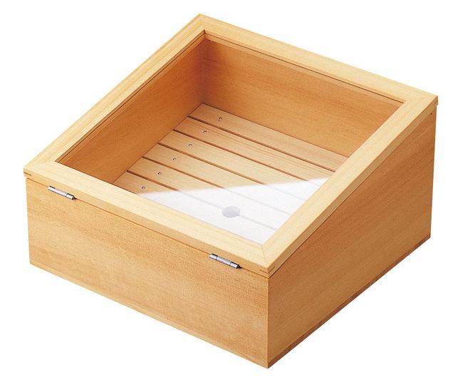 ネタ箱傾斜型 目皿・アクリル蓋付 (W35586) (調理道具/まな板・抜き板・ネタケース)