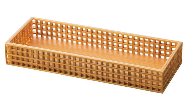 新 細目(ささめ)格子盛器 長角 (W27583) (料理箱・皿/料理箱)