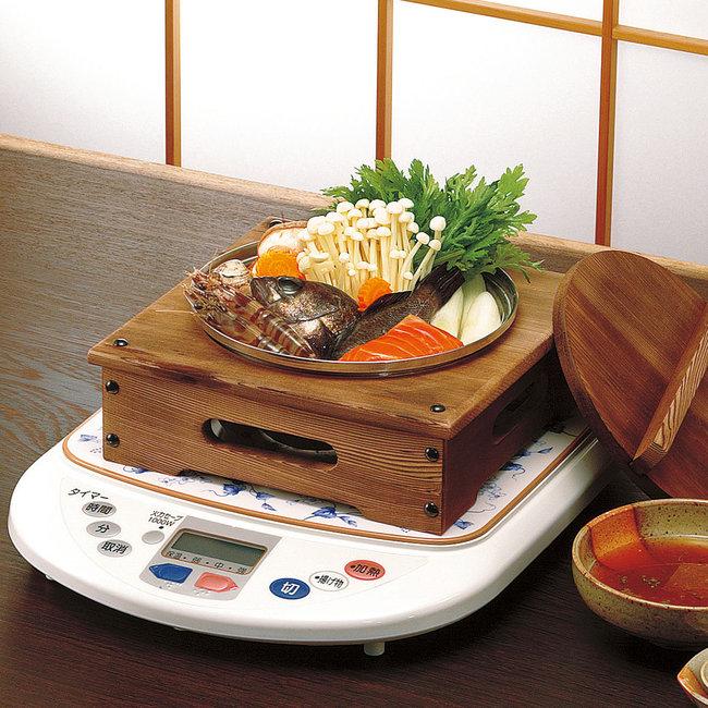 電調木枠鍋 (大) 4~5人用 [W21306](鍋・コンロ/湯葉鍋・湯豆腐)