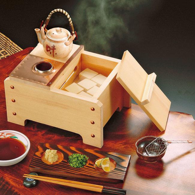 椹・角型湯豆腐セット (1人用) (US1040) [W23103](鍋・コンロ/湯葉鍋・湯豆腐)