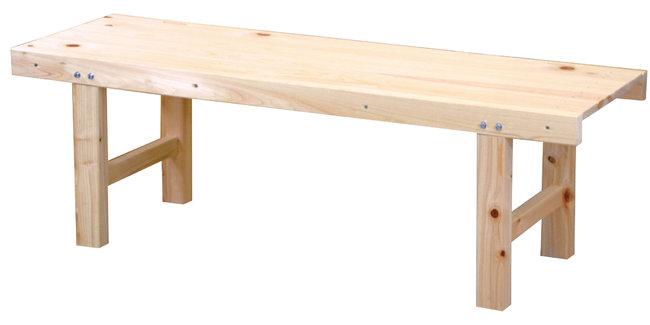 ひのき ウッドベンチ (無塗装) W150 [W51425](店舗什器・店舗備品/野立傘・縁台)