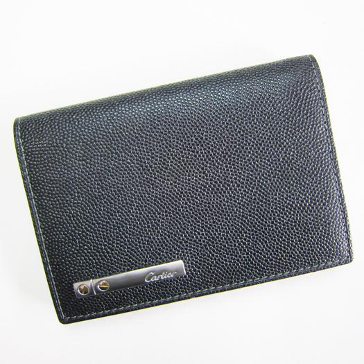 Cartier カルティエ カードケース 黒革 サントス 【中古】
