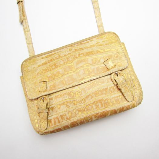 クロコダイル ショルダーバッグ 日本製 金色 吟ずり仕上げ 【中古】