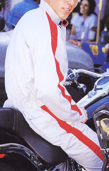 PERSON`S ブランド帯電防止素材ツナギ(ライトグレーxレッド)(送料無料)
