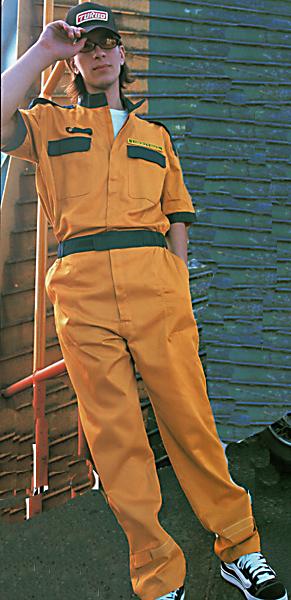プロ仕様パーツポイントツートンカラー半袖ピットスーツツナギ カラシxネイビー