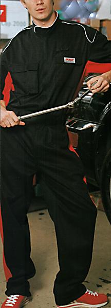 プロ仕様パーツ再起反射パイピングツートンカラー半袖ピットスーツツナギ ブラック