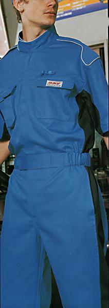 プロ仕様パーツ再起反射パイピングツートンカラー半袖ピットスーツツナギ ブルー