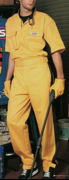 プロ仕様パーツ再起反射パイピングツートンカラー半袖ピットスーツツナギ イエロー