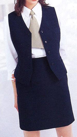 ストレッチ素材のベスト・スカート長袖ブラウス3点セット