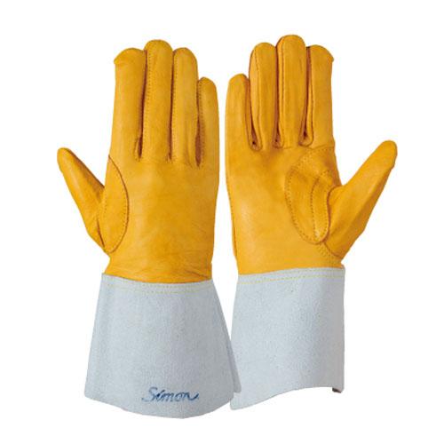 作業用手袋 シモン 溶接用手袋 掌部牛本革、袖部牛床革 牛本革当て付き シモンロゴ入り 強度アップ アルゴン溶接 耐熱 柔軟 耐摩耗 高耐久 10双入り 123Aアルゴン黄
