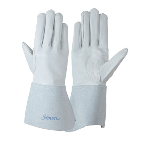 作業用手袋 シモン 溶接用手袋 掌部牛本革 袖部牛床革 牛本革当て付き シモンロゴ入り アルゴン溶接 耐熱柔軟 耐摩耗 高耐久 10双入り 123Aアルゴン白