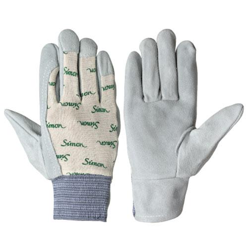 作業用手袋 革手袋 牛本革手袋 高級牛本革 シモンロゴ入りメリヤス地 ゴムタック式 通気性に優れる 柔軟 耐摩耗 高耐久 手によく馴染みます 10双入り 126白