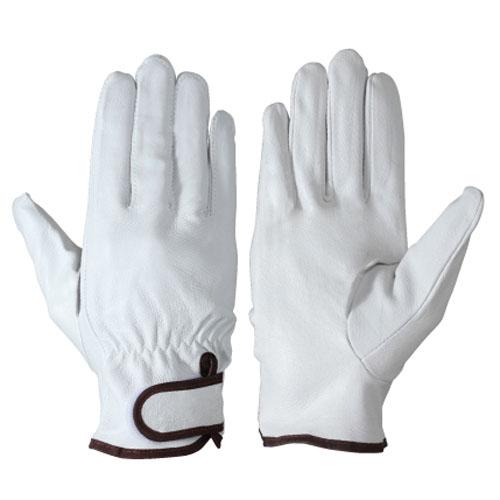 作業用手袋 革手袋 シモン 豚革手袋(ソフトタッチ) 豚本革 マジック止め式 耐摩耗 軽量 通気性 10双入り 717豚白